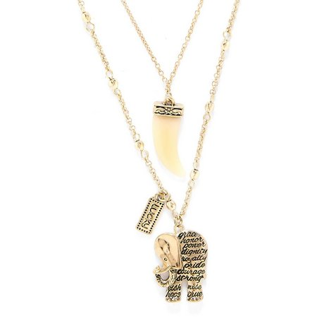Believe In 2 Row Elephant Courage Charm Necklace