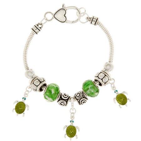 Be Charmed Green Turtle Charm Slider Bead Bracelet