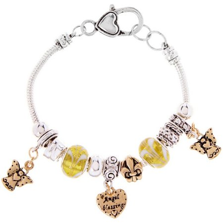 Be Charmed Two Tone Angel Blessing Charm Bracelet