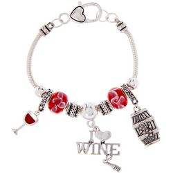Be Charmed I Love Wine Charm Bracelet