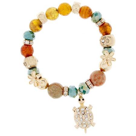 Believe In Glass Agate Rhinestone Turtle Bracelet
