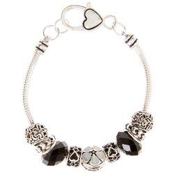 Be Charmed Black & White Flower Slider Bracelet