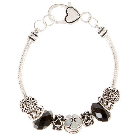 Be Charmed Black & White Flower Slider Bracelet