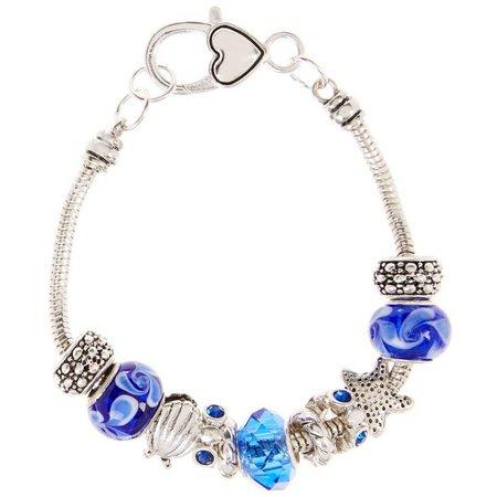 Be Charmed Seashell Blue Slider Bead Bracelet