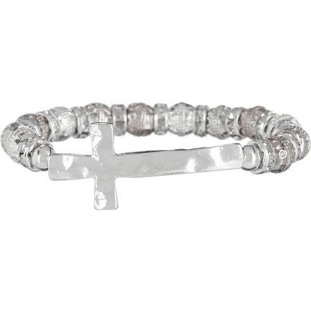 Believe In Silver Tone Cross Stretch Bracelet