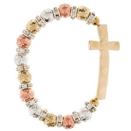 Believe In Tri Tone Gold Cross Beaded Bracelet