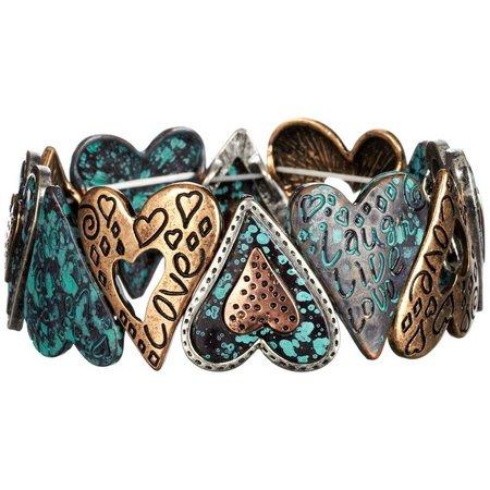 Believe In Tri Tone Heart Link Stretch Bracelet