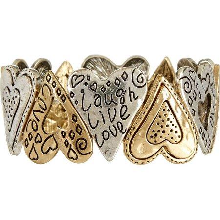 Believe In Two Tone Heart Link Stretch Bracelet