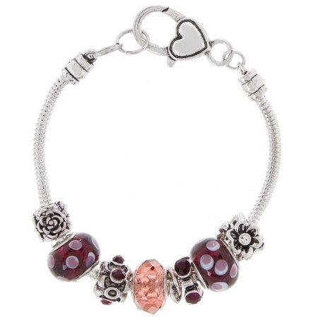 Be Charmed Purple Artisan Beads & Flower Bracelet