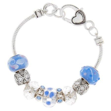 Be Charmed Blue Artisan Glass Bead Slider Bracelet