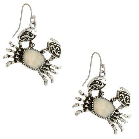 Believe In White & Silver Tone Crab Earrings
