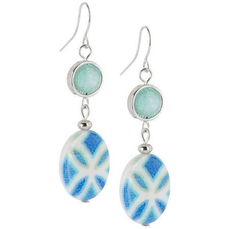 Carol Dauplaise Indie Shell Oval Drop Earrings