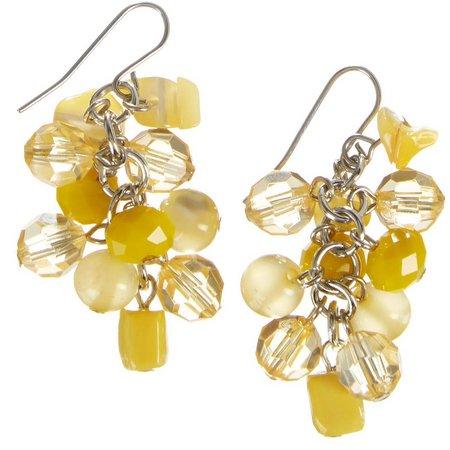 Carol Dauplaise Yellow Bead & Shell Earrings