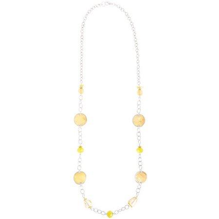 Carol Dauplaise Yellow Shell Disc Long Necklace