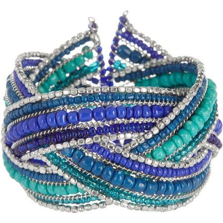 Izaro Aqua Blue Multi Seed Bead Cuff Bracelet