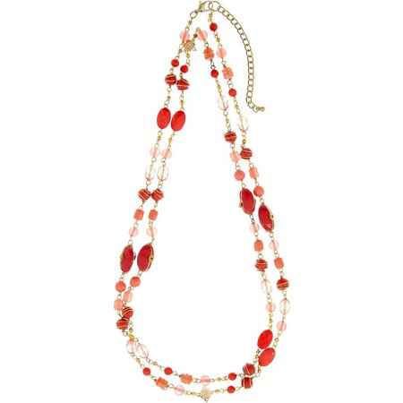 Izaro Coral Glass Bead Wire Wrapped Necklace