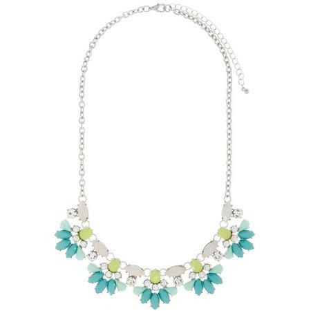 New! Izaro Green Multi Flower Statement Necklace