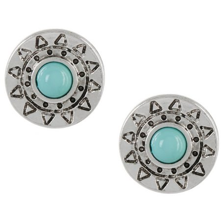 Izaro Small Turquoise Blue Round Stud Earrings