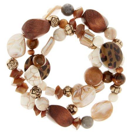 Coral Bay Animal Print Beaded Stretch Bracelet Set