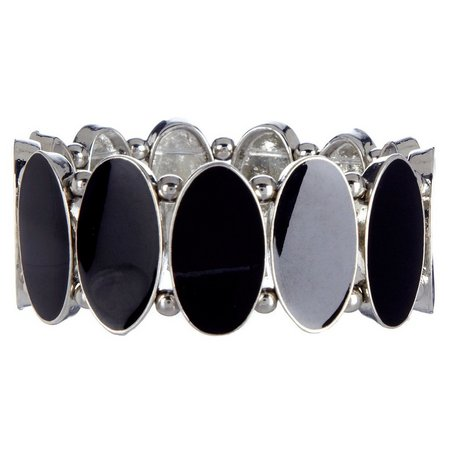 Izaro Black Oval Epoxy Stretch Bracelet