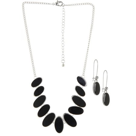 Izaro Black Oval Link Necklace & Earring Set