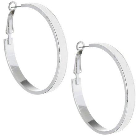 Izaro White Enamel Clutchless Hoop Earrings