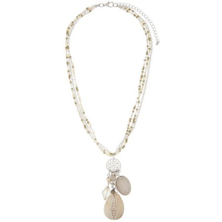 Coral Bay Grey Multi Row Shell Tassel Necklace