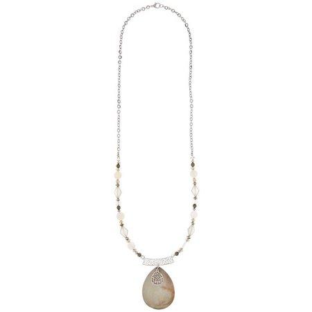Coral Bay White & Grey Teardrop Pendant Necklace