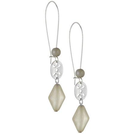 Coral Bay Grey Bead Drop Earwire Earrings