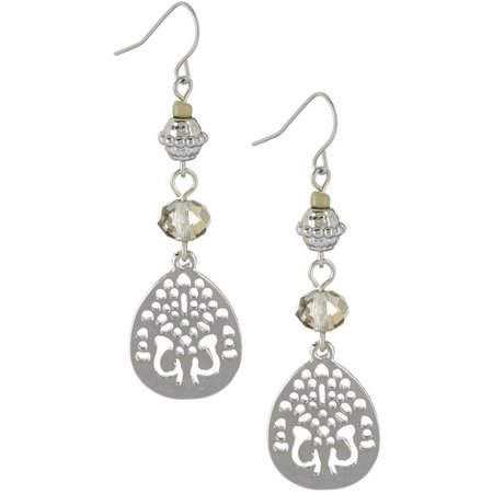 Coral Bay Silver Tone Teardrop Linear Earrings
