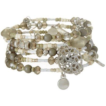 Coral Bay Beaded Grey & White Coil Bracelet