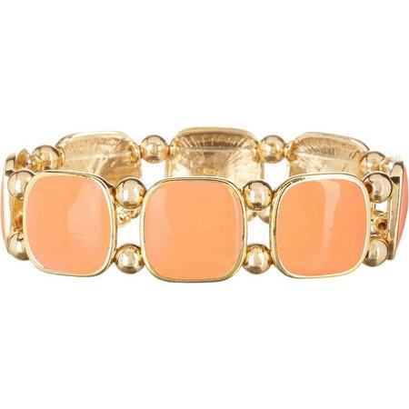 Izaro Coral Enamel Gold Tone Stretch Bracelet