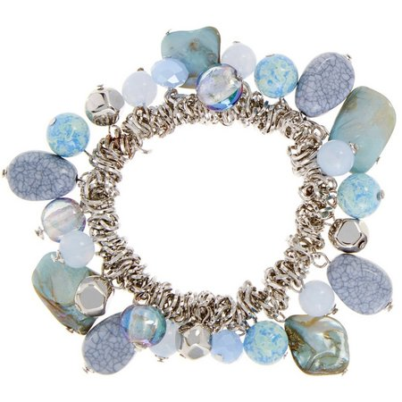 Coral Bay Blue Beads & Shell Nugget Bracelet