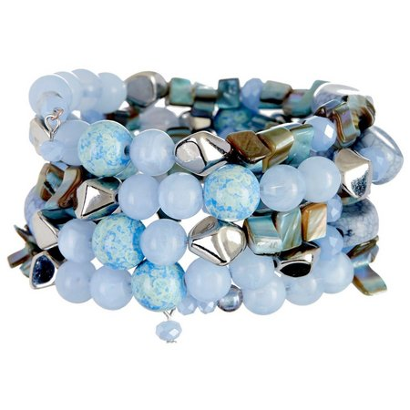 Coral Bay Blue Multi Bead & Shell Coil