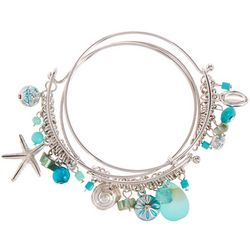 Coral Bay Blue Sealife Charm Bangle Bracelet Set
