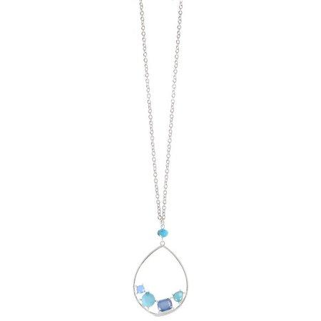Coral Bay Teardrop Pendant Silver Tone Long Necklace