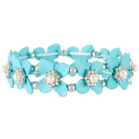 Coral Bay Aqua Blue Flower Stretch Bracelet