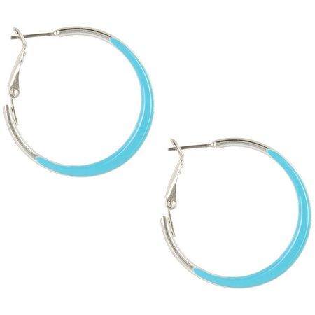 Coral Bay Aqua Blue Clutchless Hoop Earrings