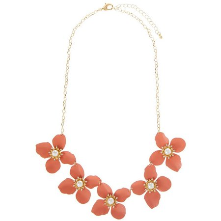 Coral Bay Faux Pearl & Rhinestone Flower Necklace