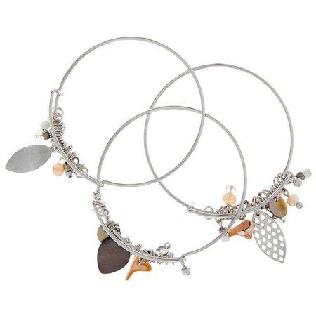 Coral Bay Bead & Shell Bangle Bracelet Set