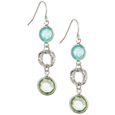 Izaro Blue & Green Stone Linear Earrings