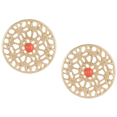 Coral Bay Gold Tone Filigree Button Post Earrings