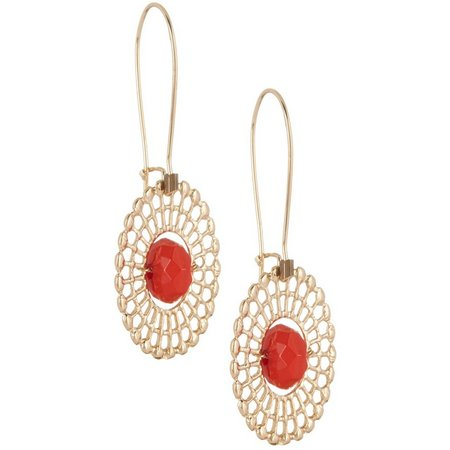 Coral Bay Poppy Red Filigree Disc Drop Earrings