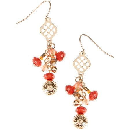 Coral Bay Multi Beaded Linear Drop Earrings