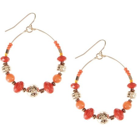 Coral Bay Coral Orange Beaded Hoop Earrings