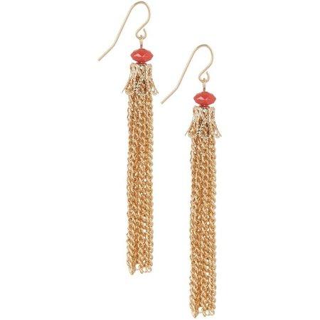 Coral Bay Gold Tone Chain Tassel Dangle Earrings