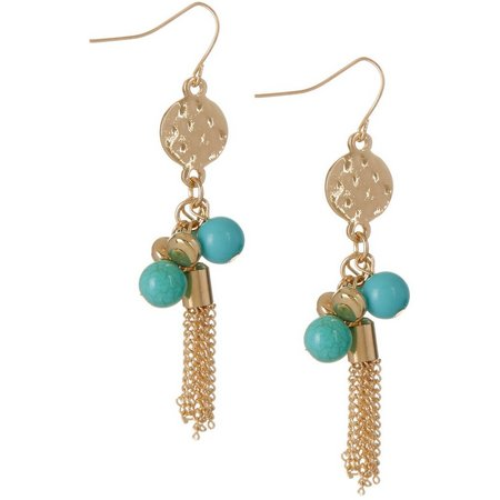 Coral Bay Aque Blue Beads & Chain Tassel