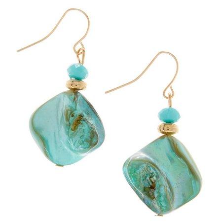 Coral Bay Waterfall Aqua Shell Nugget Earrings