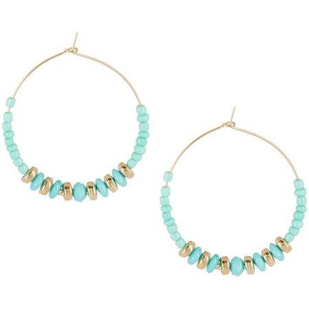 Coral Bay Aqua Blue Seed Bead Hoop Earrings
