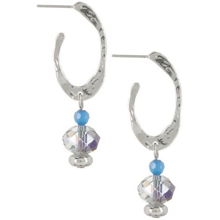 Coral Bay Victoria Blue Hoop Bead Drop Earrings
